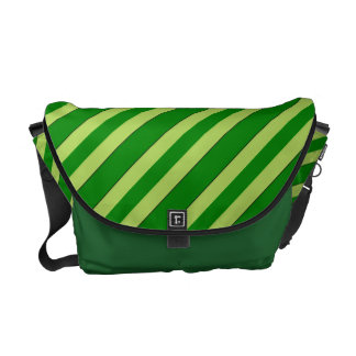Light And Dark Green Stripes Messenger Bag