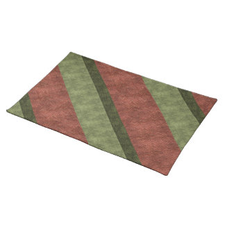 Light and Dark Green Wine-Colored Diagonal Stripes Cloth Placemat
