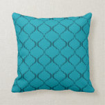 Light and Dark Teal Moroccan Pattern Throw Pillow