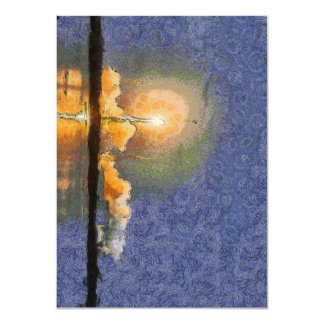 Light and halo around a rocket 4.5x6.25 paper invitation card