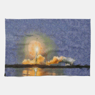 Light and halo around a rocket kitchen towel