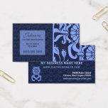 Light and Navy Blue Damask Professional Business Business Card