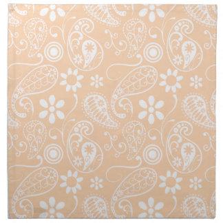 Light Apricot Paisley; Floral Cloth Napkin