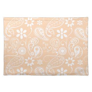 Light Apricot Paisley; Floral Cloth Placemat