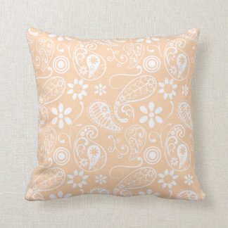 Light Apricot Paisley; Floral Throw Pillow
