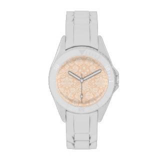 Light Apricot, Peach Damask Pattern Wristwatches