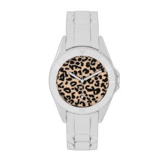 Light Apricot Peach Leopard Animal Print Watch