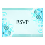 Light Aqua Blue Floral Elegant RSVP Response Card