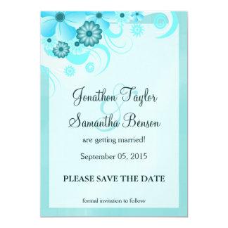 Light Aqua Blue Floral Save The Date Announcements