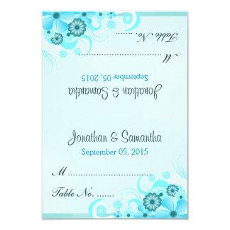 Light Aqua Blue Floral Tent Wedding Place Card