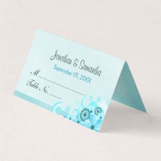 Light Aqua Blue Hibiscus Floral Folded Table Place Card