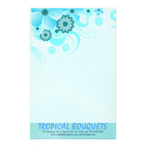 Light Aqua Blue Hibiscus Florist Stationery Paper