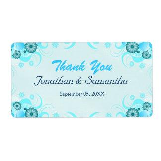 Light Aqua Blue Teal Floral Large Wedding Favor Label