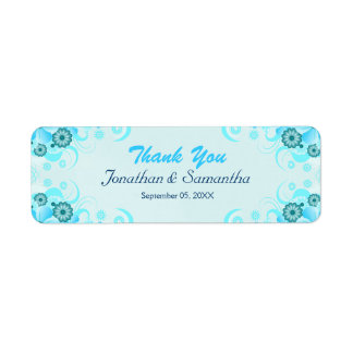 Light Aqua Blue Teal Floral Small Wedding Favor Label