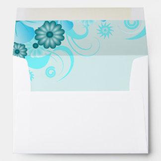 Light Aqua Blue Teal Turquoise Floral Hibiscus Envelope