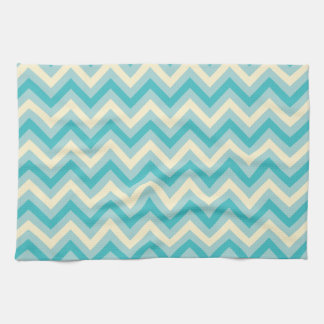 Light Aqua Blue, Turquoise, and Off-White Chevron Hand Towel