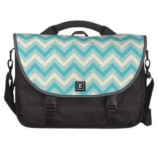 Light Aqua Blue, Turquoise, and Off-White Chevron Laptop Bags