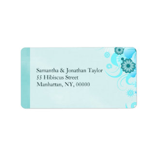 Light Aqua Carribean Blue Floral Hibiscus Wedding Label