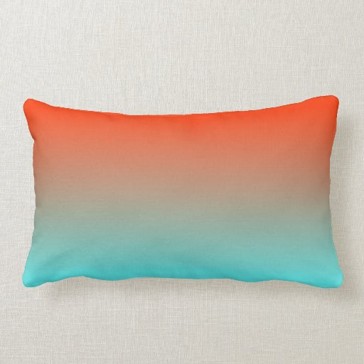 Light Aqua Throw Pillow : Light Aqua Orange Ombre Pillows Zazzle