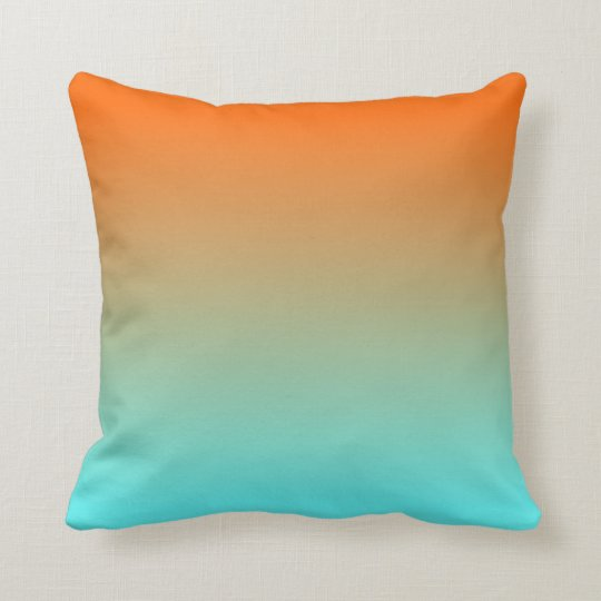 Pale Aqua Throw Pillow : Light Aqua Orange Ombre Throw Pillow Zazzle.com