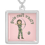 Light Archery in Camouflage Square Pendant Necklace
