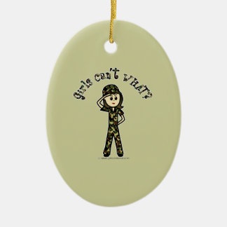 Light Army Woman Double-Sided Oval Ceramic Christmas Ornament