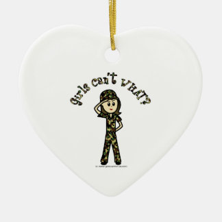 Light Army Woman Double-Sided Heart Ceramic Christmas Ornament