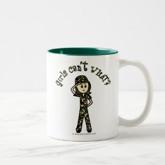 Light Army Woman Two-Tone Coffee Mug