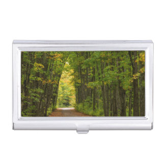 Light At The End Of A Tunnel Of Trees Business Card Case