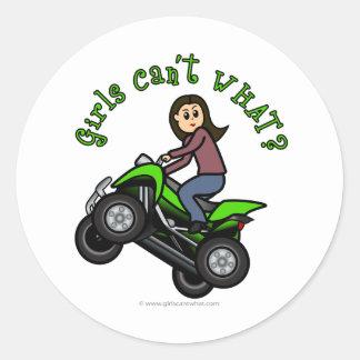 Light ATV   Four Wheeling Girl Classic Round Sticker