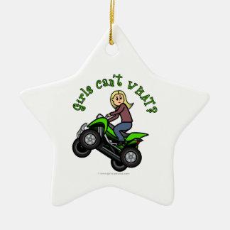 Light ATV   Four Wheeling Girl Double-Sided Star Ceramic Christmas Ornament