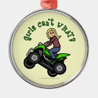 Light ATV | Four Wheeling Girl Round Metal Christmas Ornament