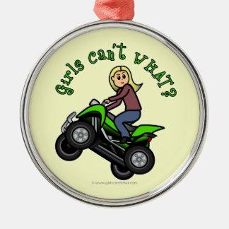 Light ATV   Four Wheeling Girl Round Metal Christmas Ornament