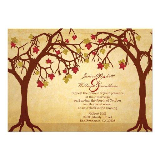 Light Autumn / Fall Trees Wedding Invitation