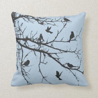 Light Baby Blue Bucolic Landscape Throw Pillow