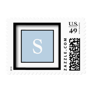 Light Baby Blue Customizable Initial Invites Postage Stamps