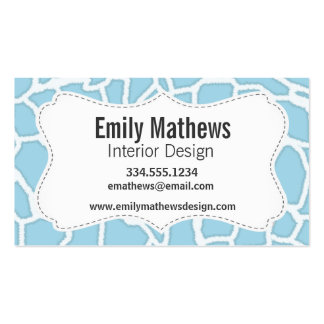 Light Baby Blue Giraffe Animal Print Double-Sided Standard Business Cards (Pack Of 100)