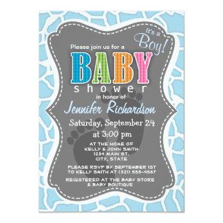 Light Baby Blue Giraffe Animal Print Invitation
