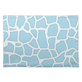Light Baby Blue Giraffe Animal Print Placemats