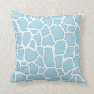Light Baby Blue Giraffe Animal Print Throw Pillow