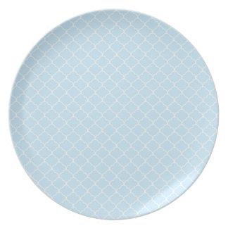 Light Baby Blue Moroccan Quatrefoil Plate