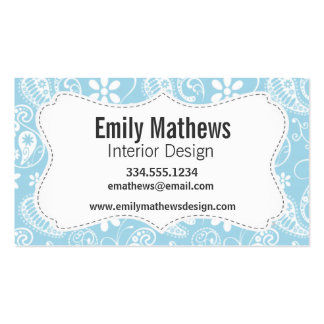 Light Baby Blue Paisley Pattern Business Card Templates