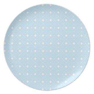 Light Baby Blue Retro Squares Dinner Plates