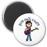 Light Bass Guitar Girl 2 Inch Round Magnet