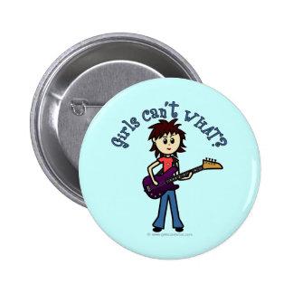 Light Bass Guitar Girl Pinback Button