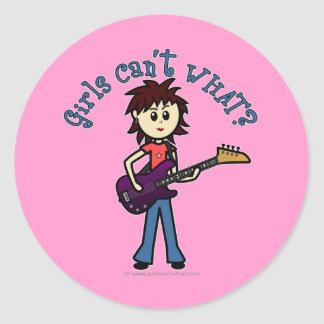 Light Bass Guitar Girl Classic Round Sticker