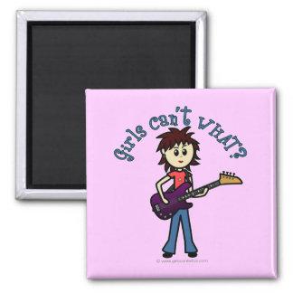 Light Bass Guitar Girl Fridge Magnet