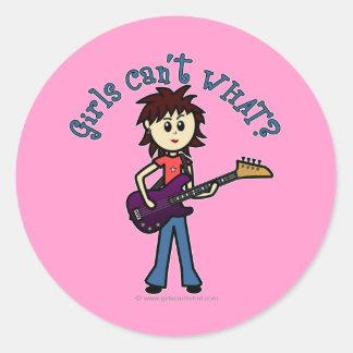 Light Bass Guitar Girl Classic Round Sticker
