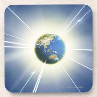 Light Beams from Earth 2 Beverage Coaster