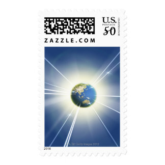Light Beams from Earth 2 Postage